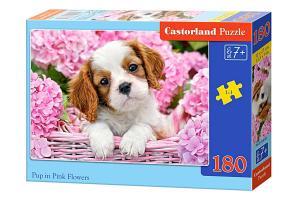 Castorland Pussel Hundvalp i En Korg Med Rosa Blommor 180 Bitar