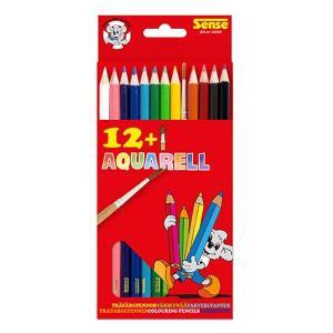 Sense Akvarellfärgpennor 12-Pack + Pensel