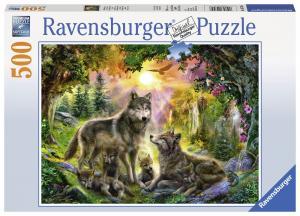Ravensburger Pussel - Solsken över vargfamilj 500 bitar