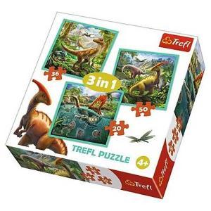 Trefl 3in1 Pussel - Dinosauriernas värld! 20, 36 & 50 Bitar