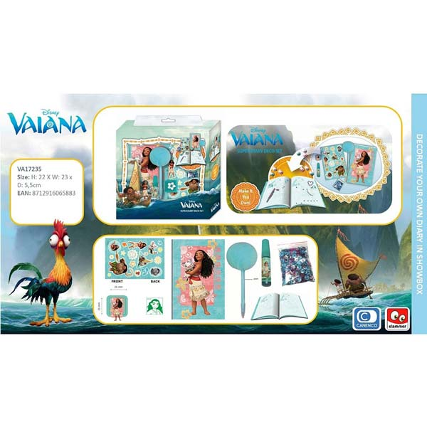 Disney Vaiana Dagbok Deco Set